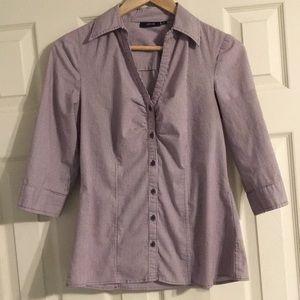 Apt. 9 shirred button down purple & white striped